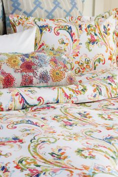 The hand and eye of the artist are evident in vibrant flowering vines meandering across a crisp white ground. The loose, painterly style of this exuberant, watercolor design is captured through meticulous hand-printing. Green Bedrooms, Bedroom Green, Master Bedroom, Cushion Inspiration, Egyptian Cotton Duvet Cover, Bedroom Ideas, Bedroom Decor, French Stuff, Floral Bedding