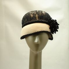 Cloche Hat for Women Felt Hat in Antique White and Black