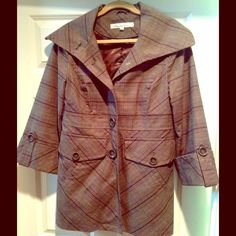 Host Pick #9KENNETH COLE Glenn plaid Wardrobe Staples HP 12.12.15KENNETH COLE NY -chic Glenn plaid car coat - brown/black/grey, reinforced buttons, wide collar that can be worn low & flat or high & close.  Slit pocket inside, two large front pockets w/button closure.   Sleeves just above wrist with button tab detail.  Open pleat in back.  Perfect condition, worn very few times - includes extra button.  Shell 98% cotton & 2% spandex, lining 100% polyester - dry clean.  Plz see 2nd listing for…