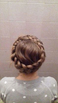 Crown dutch braid on medium hair
