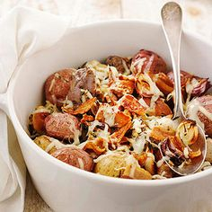 Pancetta and Cheddar New Potatoes From Better Homes and Gardens, ideas and improvement projects for your home and garden plus recipes and entertaining ideas.