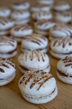 Milk chocolate and coconut macarons (Italian meringue)