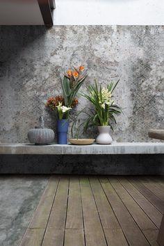 Carta da parati panoramica con motivi floreali PRUNUS - Inkiostro Bianco