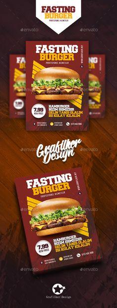 Fast Food Burger Flyer Template PSD, InDesign INDD