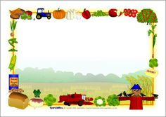 Harvest-themed page borders - SparkleBox Page Borders, A4, Stationary, Preschool, Frames, Holidays, Painting, Moldings, Tags