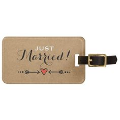 Pink Sweethearts & Arrows Rustic - Just Married! Luggage Tag  Charming but simple. Just the right combination of elegant and casual, with a touch of sweet ol' farmyard charm. The perfect theme for a variety of different styles of wedding: shabby chic, outdoors, heart-and-arrow style romance, or just for that sweet, rustic feel. It's original, and uniquely your own.