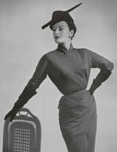 Vintage Jacques Griffe dress, 1951.  Look at that draping!  #vintage #couture allure