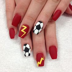 """Client wanted to show support for her local club. Good luck to the team. Tag if you know the team name ❤️⚽️"" Photo taken by @professionalnailss on Instagram, pinned via the InstaPin iOS App! http://www.instapinapp.com (03/06/2016)"