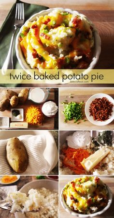 twice baked potato pie (aka loaded mashed potatoes or twice baked potato casserole) - so fabulous!! i could eat this every day of my life.   www.livecrafteat.com
