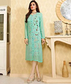 Shop Sea Green Georgette Designer Readymade Kurti 72535 online at best price from vast collection of designer kurti at Indianclothstore.com.