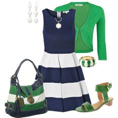"""Summer Outfit"" by penny-martin on Polyvore Navy Green and White Summer Contest"