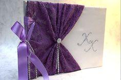 Items similar to Wedding Guest Book - Purple, Romantic, Elegant Weddings on Etsy My Greek Wedding, Wedding Guest Book, Lavender, Romantic, Guest Books, Elegant, Purple, Trending Outfits, Unique Jewelry