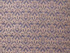 Lee Jofa English Rayon Cotton Flax Fleur de Lys Blue Beige Upholstery $50