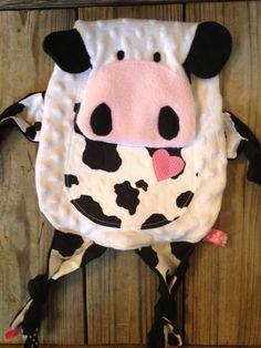 Cow Tag Blankie by TiedByTi on Etsy, $35.00