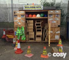 BUILDERS SHED Self selection shed for outdoor continuous provision - Construction. From cosydirect. Eyfs Outdoor Area, Outdoor Play Areas, Outdoor Fun, Outdoor Stage, Outdoor Games, Outdoor School, Outdoor Classroom, Eyfs Classroom, Classroom Activities