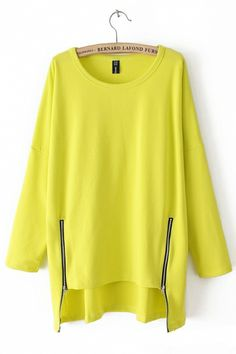 Zipper High-low Hem Bright Color Blouse Cute with leggins & my sparkle ankle booties!!