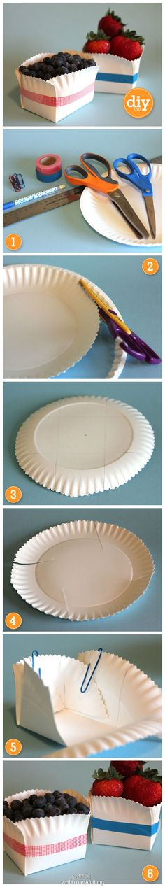 DIY Paper Plate Box diy craft crafts easy crafts craft idea diy ideas home diy easy diy home crafts diy craft. This would be great for some of those finger desserts Paper Plate Box, Paper Plates, Paper Boxes, Paper Basket, Paper Cups, Diy And Crafts, Crafts For Kids, Arts And Crafts, Easy Crafts