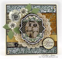 70th Wedding Anniversary card for my grandparents!  Using Spring Rose Medallions, Elegant Fronds and Your Special Day Medallion Labels by JustRite Papercraft - by Kathy Jones