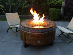 Exterior. Unique Wine Barrel Propane Fire Pits