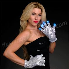 Light Up Silver Gloves with Sequins (1 PAIR) - SKU NO: 11389-MLT