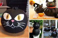 Chat noir  Avec un peu de peinture ou de carton, vous aurez vite créé le chat noir des sorcières d'Halloween. Vous pouvez ajouter des oreilles en carton, peindre les yeux ou les coller, selon vos préférences. Souvenez-vous toutefois que des yeux peints supporteront mieux la pluie si vous avez l'intention d'en faire un chat d'extérieur.