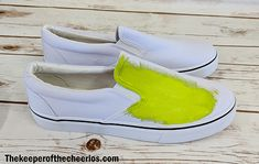DIY Grinch Shoes - The Keeper of the Cheerios Grinch Shoes, Grinch Mask, Grinch Party, Christmas Stuff, Christmas Time, Merry Christmas, Ugly Sweater Party, Black Sharpie, Fabric Markers