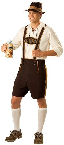 """Includes lederhosen, pullover shirt with lace-up collar, hat and knee socks{lang: """"""""}"""