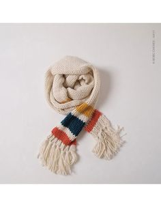 Beige knitted scarf with blue, yellow and red stripe - Bobo Choses