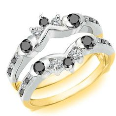 Sterling Silver Half Halo Classic Style Ring Guard set with Black And White Cubic Zirconia Ct. Black Diamond Wedding Rings, Platinum Wedding Rings, Sterling Silver Wedding Rings, Wedding Ring Enhancers, Engagement Ring Enhancers, Engagement Rings, Small Rings, Unique Rings, Cheap Wedding Rings