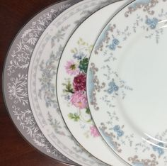 4 Mismatched  DINNER CHINA Dishes, Wedding. Bridal Shower. Baby Shower. Tea…