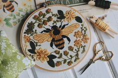 """Sweet Honey Bee"" Digital Embroidery Pattern — Under A Tin Roof™ - Embroidery designs - Embroidery Materials, Hand Embroidery Stitches, Silk Ribbon Embroidery, Embroidery Hoop Art, Hand Embroidery Designs, Machine Embroidery, Embroidery Ideas, Simple Embroidery, Geometric Embroidery"