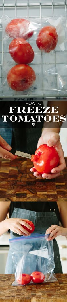 How to Freeze Whole Tomatoes. Wondering how to use up those tomatoes you bought, but don't have the energy to can, process, or otherwise preserve them? Try freezing!