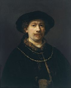 Self-Portrait Wearing a Hat and Two Chains - Rembrandt van Rijn.  c.1642.  Oil on oak panel.  72 x 54.8 cm.  Museo Thyssen-Bornemisza, Madrid, Spain.