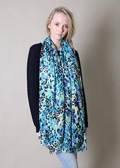 Anika Dali Women's Belize Animal Print Scarf - Oversize, Lightweight (Blue/Black) at Amazon Women's Clothing store: Fashion Scarves