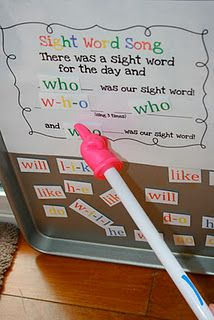 Sight word song. Really cute use of magnetic words.  We also do a song...There is a star word in my brain can you guess what it is...this is a great activity when you need a filler..