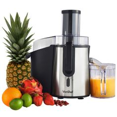 VonShef Professional Powerful Wide Mouth Whole Fruit Juicer 700W Max Power Motor with Juice Jug