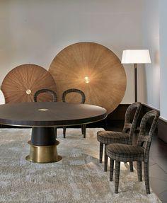 Obumex for exclusive Promemoria design furniture collections. Leather Furniture, Table Furniture, Furniture Design, Design Lounge, Dining Chairs, Dining Table, Square Tables, Furniture Collection, Modern Interior Design