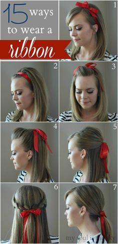 How beautiful! Some days I love the preppy simple look. A hair ribbon is just that-15 Ways to Wear a Hair Ribbon