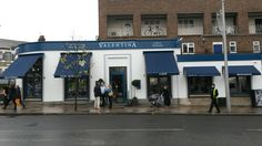 Valentina with their new Victorian Shop Blinds by Deans Blinds And Awnings