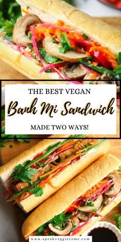 These vegan banh mi sandwiches are a delicious and healthy twist to a classic Vietnamese sandwich. They pack so much flavor and are filled with vibrant vegetables. One recipe is made with marinated tofu fried to a perfect golden crisp and topped with sweet and spicy sriracha sauce. And the other sandwich is made with a tasty garlic teriyaki sauce. Try it with your favorites and switch up the flavors! These banh mi sandwiches are so quick and easy to make, a perfect idea for a nutritious lunch! Banh Mi Sandwich, Vietnamese Sandwich, Sandwich Recipes, Lunch Recipes, Dinner Recipes, Vegan Sandwiches, Sandwich Ideas, Delicious Vegan Recipes, Vegetarian Recipes