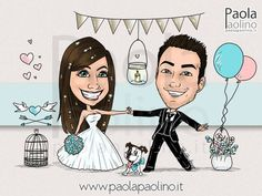 Una caricatura di sposi in stile shabby chic, la personalizzazione si estende anche al piccolo peloso di casa, con papillon a tema!
