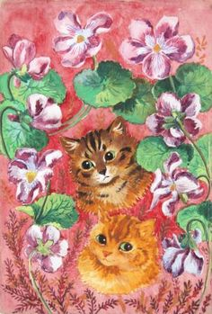 pansies and tabby, watercolour by Louis Wain