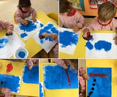 """Reproducción del cuadro """"Azul"""" de Miró hecha por niños de Educación Infantil"""