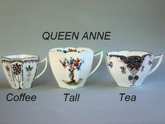 Australasian Shelley Collectors Club Inc - Gallery 1 of Cup Shapes   Tall and Coffee were 1926-1930's.  TEA was 1926-30's & again 1950's-60's