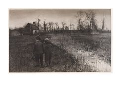 """Peter Henry Emerson (1856 - 1936) - """"A Toad in the Path - Early Spring in Norfolk"""""""