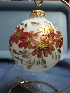 daisy floral ornament Hand painted Round Glass Christmas Ornament 50 mm 70mm ornament