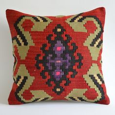 %30 SALEOrganic Modern Bohemian Throw Pillow. Handwoven Wool Vintage Tribal Turkish Kilim Pillow Cover by sukan, $119.95