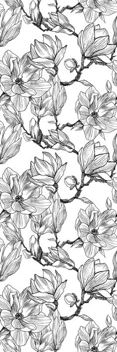 Removable Wallpaper Peel and Stick Wallpaper Self Adhesive Wallpaper Hand Drawn Flowers - Smooth. Self Adhesive Wallpaper, Wallpaper Roll, Peel And Stick Wallpaper, Pattern Wallpaper, Wallpaper Backgrounds, Whatsapp Wallpaper, Hand Drawn Flowers, Motif Floral, Aesthetic Iphone Wallpaper
