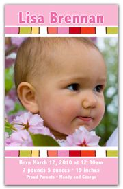 Birth Announcement Magnet Favors - Colorful Stripes Girl. The focus is on your newborns photo with this Photo Magnet Announcement. A coloful and artsy feel to this design gives a special meaning to this Birth Announcement. Your newborns photo is positioned in between two colorful stripes while the stats sit in a sea of blue. Our Baby Announcement Photo Magnets are the perfect way to spread the joy to family and friends.