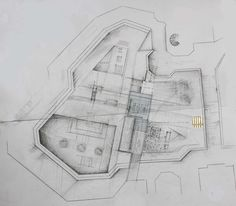 1:100 site plan with design proposal in place  (hand-drawn before doing digitally on Archicad + Photoshop)